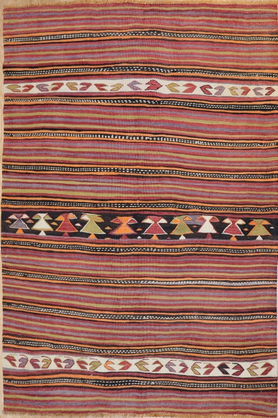 R7514 Vintage Turkish Konya Kilim Rug