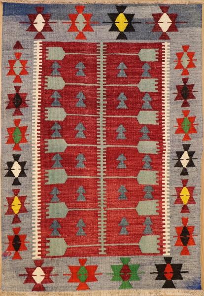 R6422 Vintage Turkish Ushak Kilim Rugs