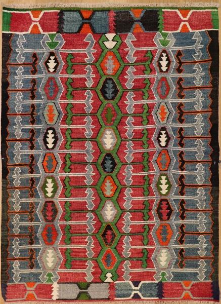 R6335 Vintage Ushak Turkish Kilim Rug
