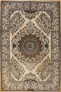 R6947 Persian Silk and Wool Nain Rug